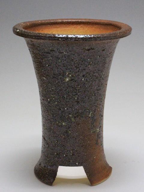画像1: 陶器鉢-火色貝殻吹付-5寸鉢 (1)