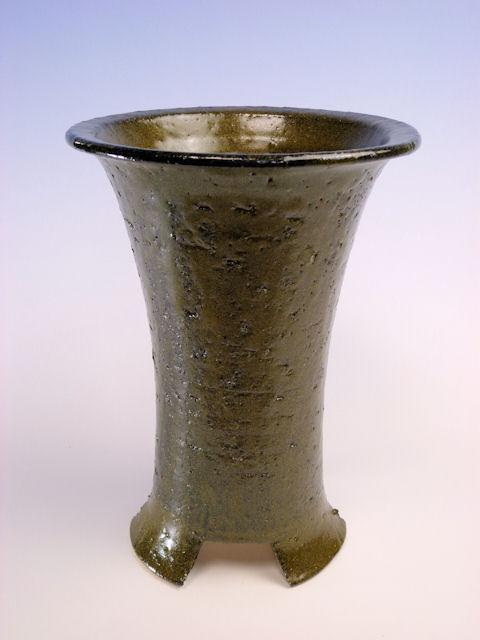 画像1: 陶器鉢-緑そば色-5寸鉢 (1)